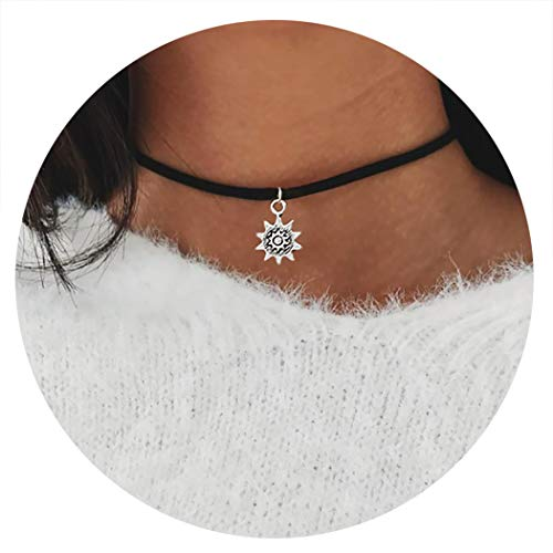 Fshion Gypsy Choker Necklace Dainty Six-pointed Star Pendant Charms Necklace Jewelry for Women and Girls (Silver)