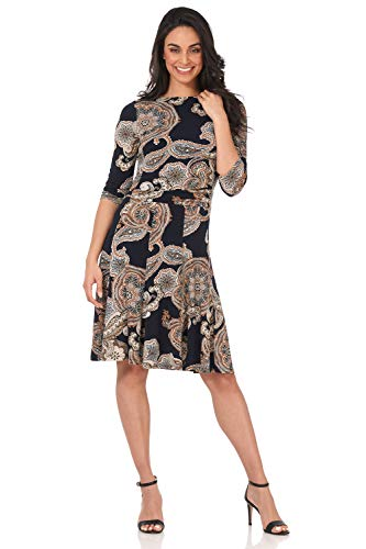 Rekucci Women's Flippy Fit N' Flare Dress with 3/4 Sleeves (16,Navy/Sand Paisley)