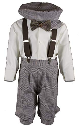 Boys Tan Plaid Knickers Pageboy Cap with Camouflage Bow Tie & Brown Suspenders (3T) by Tuxgear