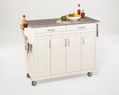 (Create-a-Cart White 4 Door Cabinet Kitchen Cart with Gray Granite Top by Home Styles)