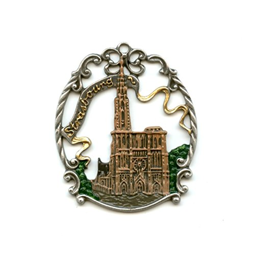 Pewter Christmas Ornament - Town Picture - - Single Strasbourg