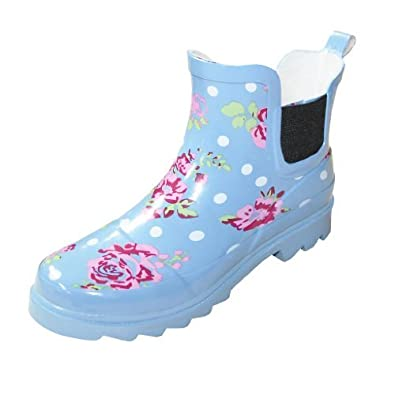 f54a7dc7b74 Ladies Womens Floral Plain Short Ankle Garden Festival Wellies ...