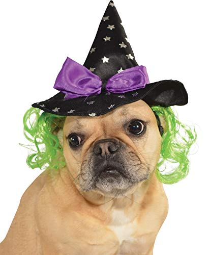 Rubie's Star Witch Hat with Hair Pet Accessory, Small/Medium]()