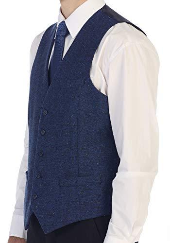 Gioberti Men's 5 Button Formal Tweed Suit Vest, Royal Blue D