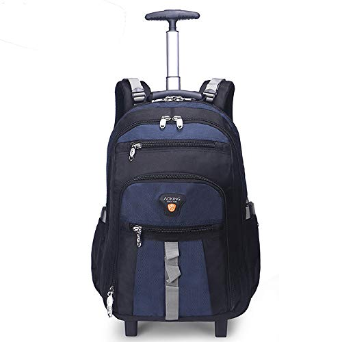 AOKING 22 Inch Water Resistant Travel School Business Rolling Wheeled Backpack with Laptop Compartment, Carry On Luggage with Spinner Wheels (22 inch, Blue) (Best Carry On With Laptop Compartment)