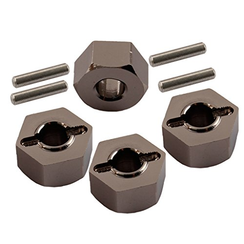(Yiguo Titanium 12mm Aluminum Hex Wheel Hub Mount and Pins for 1:10 Traxxas Slash 4X4 Set of 4)