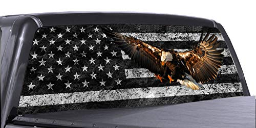 P&L ART. Eagle American Flag Window Decal for Truck, Perforated Vinyl Graphic Wrap Sticker, Removable Easy Peel and Stick Tint, 58x18 Inch