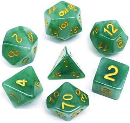 HDJ20 Yellow//Purple Jade Dice ~11 piece Polyhedral dice set ~NEW RPG DnD Magic