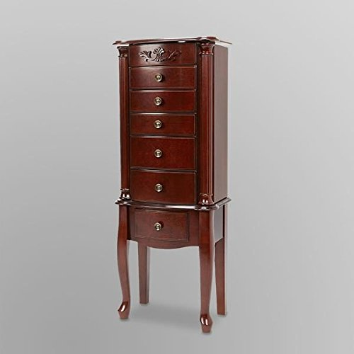 Morgan 6 Drawer Jewelry Armoire Stand,41 Inches Tall, 16 Inches Wide and 9-1/2 Inches Deep, Made of Solid Wood with a Dark Cherry Finish