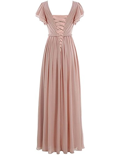 Chiffon Cap Bridal Dress Evening Lafee Dress Bridesmaid Sleeve Neck Sage Long V Party 1qBUBX