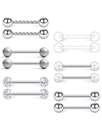 D.Bella 14G Stainless Steel & Clear Acrylic Nipple Ring Tongue Barbell Rings Bars Retainer Body Piercing Jewelry for Women Men 12PCS