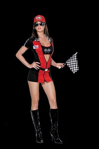 [Dreamgirl Women's Racecar Driver Costume, Red/Black, 3X/4X] (Adult Race Car Driver Costumes)