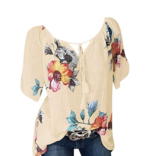 KI-8jcuD Top for Women V-Neck shirtCasual Floral Print Blouse Short Sleeve Loose Shirt Tee ()