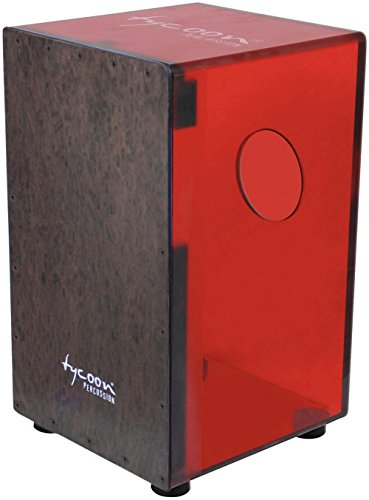 Tycoon Percussion 29 Series Acrylic Cajon Cherry Black Makah Burl Front Plate