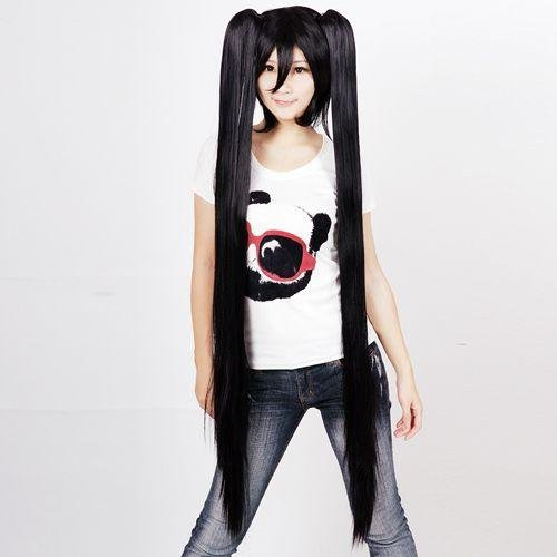 Black-Long-Length-Anime-Cosplay-Costume-Wig-w-Pigtails