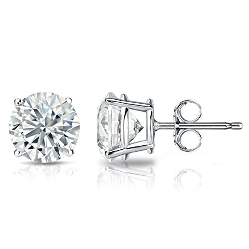 2.0 ct Round Brilliant Cut Simulated Diamond CZ Solitaire Stud Earrings in 14k White Gold Push Back ()