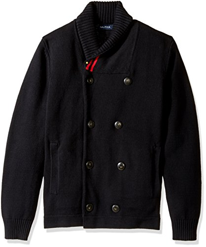 Nautica Men's Long Sleeve Shawl Collar Double Breasted Peacoat Sweater, True Black, Medium (Double Breasted Shawl Collar)