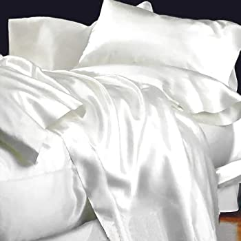 EHP Super Soft And Silky Satin Sheet Set (Solid/Deep Pocket) (Queen, White)