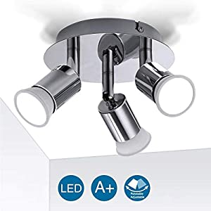 Ceiling Light Fitting, Elfeland 3 Way Pendant Light Ceiling Spotlight Rotatable Swiveling Lamp 3X GU10 Light Bases Angle…