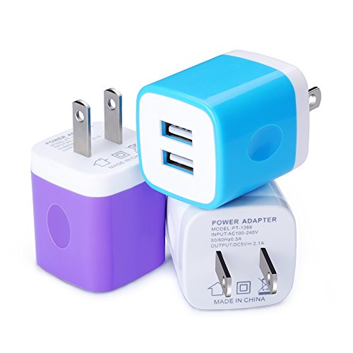 Wall Charger Fast Charge,Kakaly 3-Pack Travel Phone Charger Plug AC Power Adapter 2-Port USB Charger Plug Dock 2.1A Charger Cube Base Phone Charger Box Compatible for iPhone X/8/7/7 Plus, Galaxy S9 S8