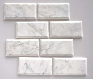 quality beveled subway tile   Bianco Venatino Marble 3X6 Deep - Beveled & Honed Subway ...