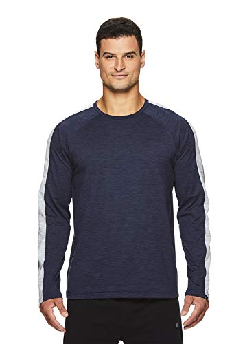 Gaiam Mens Long Sleeve Crew Neck T Shirt - Yoga & Workout Activewear Top