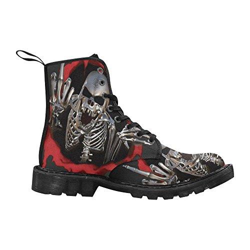 D-story Chaussures Crâne Lacets Bottes Pour Hommes Bottes De Combat Multi7