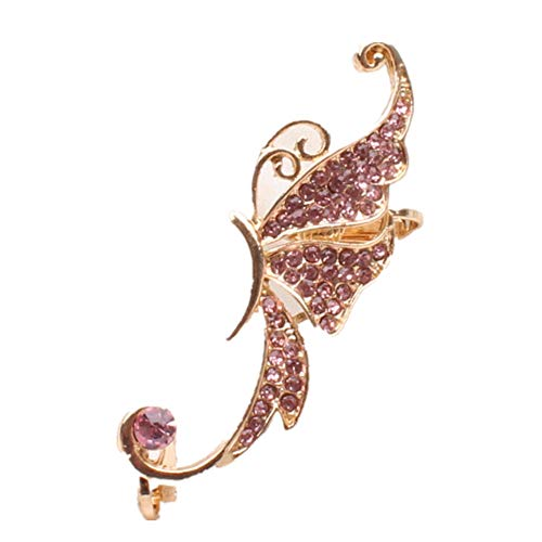 NUWFOR Women's Fashion Cute Jewelry Crystal Butterfly Wings Ear Clip Clamp Earring White(Pink) by NUWFOR (Image #4)