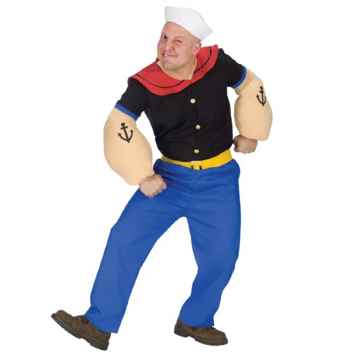 Sailor Halloween Costumes Men (Fun World Costumes Men's Mens Popeye Costume, Blue, One Size)