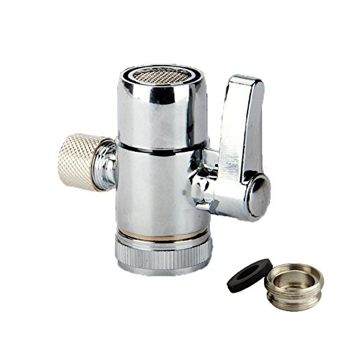 (Weirun Kitchen Bathroom Sink Faucet Water Filter Diverter Valve for Push on 3/8 inch Tubing Replacement Part Adapter with M22 X M24 Connector , Polished Chrome)