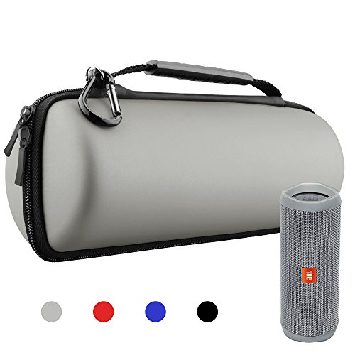 Hanlesi Case for JBL Flip 4 and Flip 3, Waterproof Carrying Accessories Case Wireless Bluetooth Speaker Travel Bag for Flip4/Flip3 Case Silver Gray by Hanlesi