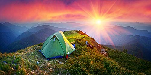 AOFOTO 20x10ft Outdoor Mountaineering Camping Backdrop Banner Beautiful Sunrise on Mountain Top Students Friends Family Travel Tent Kids Boys Man Portrait Photography Background Photo Booth Props