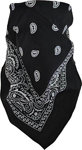 Rocker & Biker Bandana Cap Kopftuch Halstuch in vielen Ausführungen Farbe Schwarz/Weiß