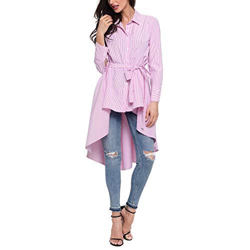 Dobladillo Sección Pretina Raya Manga Mujer Ropa Pink Regular Solapa De Camisa Blusa Larga wCqZxYzSz