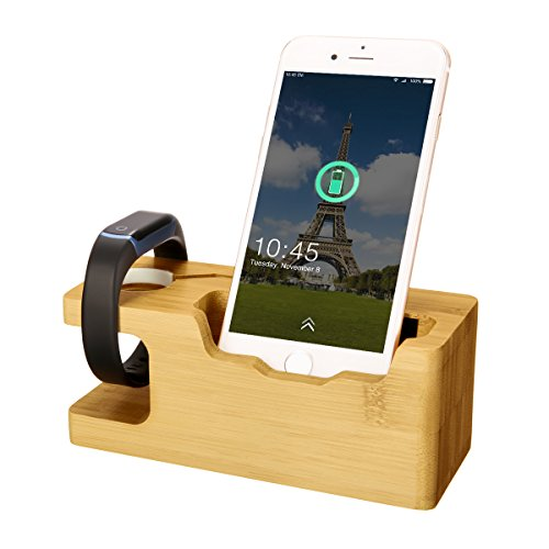 Watch Charging Bracket, MWAY Bamboo Wooden Charging Stand for Apple Watch,3.0 Hub Charger Cradle Holder/Dock for iPhone,Samsung,Android,All Smartphone,3 USB Ports 5V 3A 1 Iii Android Smartphone