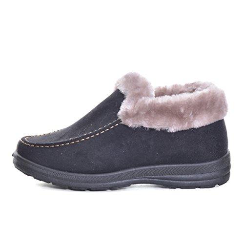 Caro Tempo Donne Inverno Caldo Tacco Basso Stivali Da Neve Neri