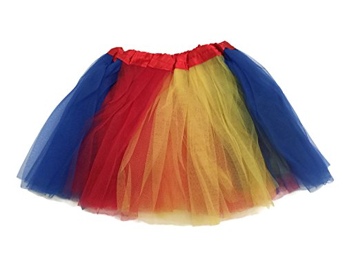 Rush Dance Colorful Kids Girls Ballerina Dress-Up Princess Costume Recital Tutu (One Size, Red, Yellow & Blue (Snow ()