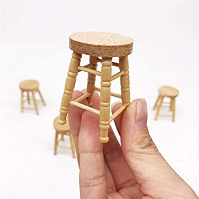 NarutoSak 1/12 Doll House Wooden High Stool Miniature Living Room Furniture Accessory, Doll House Furnishings, Christmas Birthday Gift for Girl: Home & Kitchen