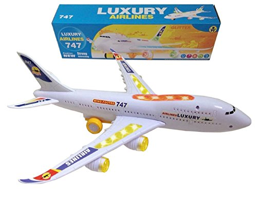 Top Race Bump and Go Action, Boeing 747 Airplane with Lights and Real (Boeing Jet)
