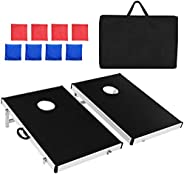 GYMAX Cornhole Bean Bag Toss Game Set, 3FT x 2FT Tailgate Corn Toss Boards & 8 Bean Bags, Great for Indoor