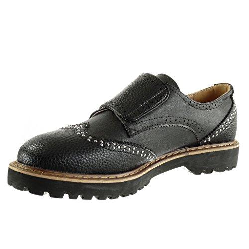 Talon Angkorly 3 Mode grainé clouté Chaussure bloc perforée CM Derbies Noir femme 1gSFwqT