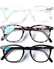 Henotin 3 Pack Blue Light Blocking Reading Glasses,Spring Hinge Computer Readers for Men Women,Anti UV Ray Filter Eyeglasses