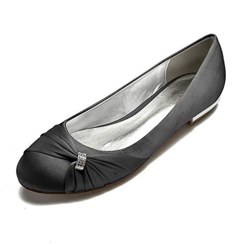 Shoes Womens Toe Satin Flats Black Round MarHermoso SXwdqxTd