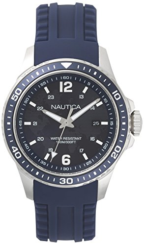 Nautica Men's 'FREEBOARD' Quartz Stainless Steel and Silicone Sport Watch, Color:Blue (Model: NAPFRB002)