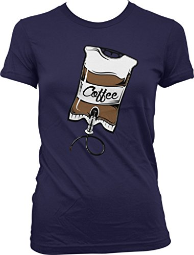 Coffee IV Bag, Caffeine, Expresso, Love Coffee, Cappuccino Juniors T-shirt, NOFO Clothing Co. L Navy