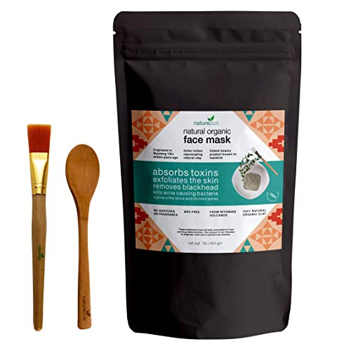 nature2us Therapeutic Bentonite Face Mask - Natural Volcanic Ash - 100% Sodium Bentonite for Deep Pore Cleansing, Skin Detox, Acne, Blackhead - Aztec Indian Healing Clay (Apple Cider Vinegar On Hair Before And After)
