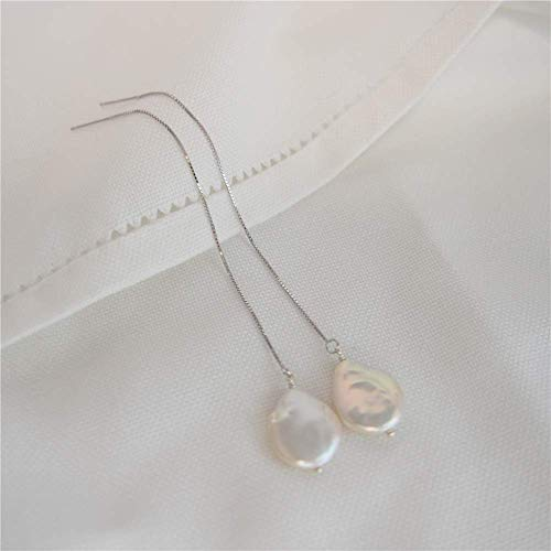 (12-14mm Natural Freshwater Pearl Coin Button Flat Water Drop Shape Sterling Silver Box Chain Earrings Wiring Jewelry For Wedding Bride Bridesmaid)