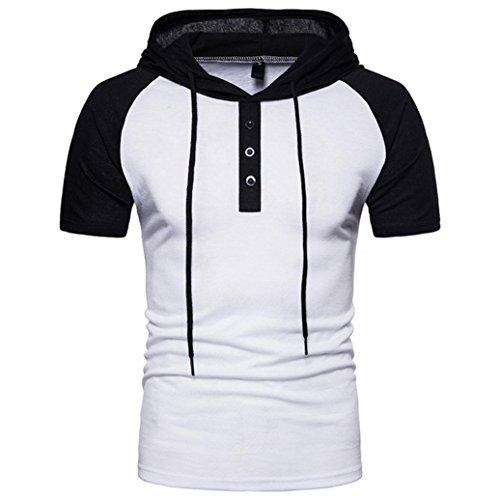 Han Shi Mens Summer Fashion Casual Patchwork Hoodies Short Sleeve T-Shirt Tank Top (White, M) by Han Shi