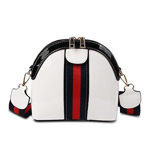 Women Shell Fashion Crossbody Designer Stripe Bag Small Purse for Bag Shoulder White Beatfull qaXxpY