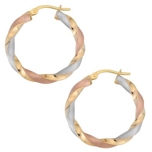 Kooljewelry 10k Tricolor Gold 3x20 mm Twist Hoop Earrings